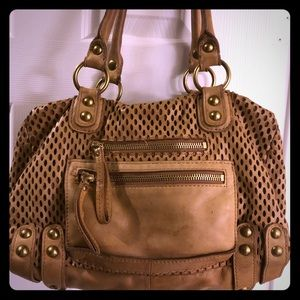 Linea Pelle perforated leather hobo